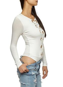 Large Grommets Lace Up Bodysuit - OFF WHITE - 3402069391324