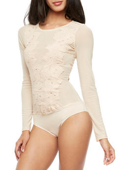 Crochet Mesh Long Sleeve Bodysuit - TAN - 3402069391413