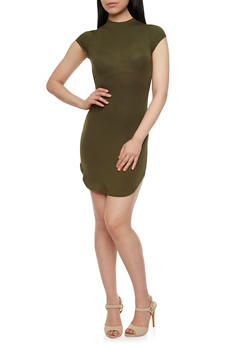 Cap Sleeve Dress with Back Cutout - 3402069392377