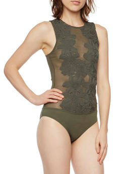 Sheer Mesh Bodysuit with Floral Crochet Detail - 3402069395008