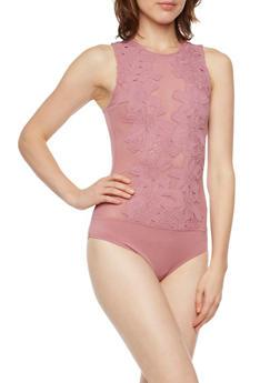 Sheer Mesh Bodysuit with Floral Crochet Detail - MAUVE - 3402069395008