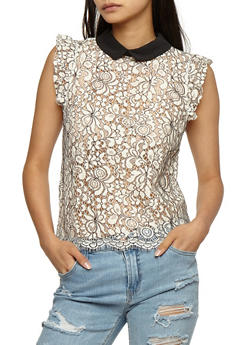 Two Toned Lace Sleeveless Top - 3402069395092