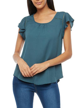 Cross Stitched Ruffle Sleeve Top - 3402069395110