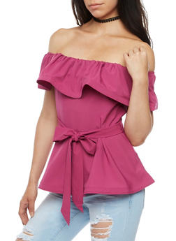 Off the Shoulder Tie Waist Peplum Top - 3402069395129
