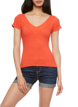 Ribbed Top with Double V-Neck - 3402069397460