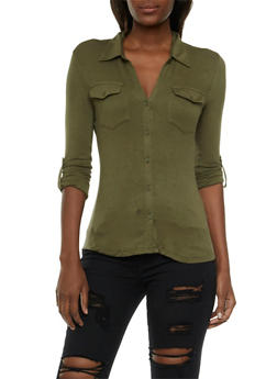 Jersey Button Front Top with Rib-Knit Side Paneling - 3402069397584