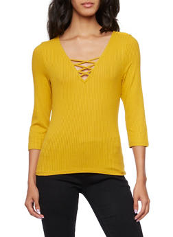 Rib Knit Top with Fixed Lace Up V Neck - MUSTARD - 3402069397791