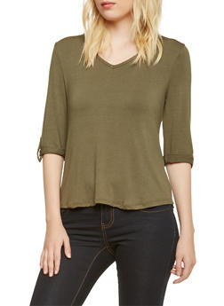 V-Neck Top with Lace Up Back - 3402069397867