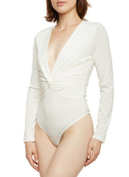 Long Sleeve Bodysuit with Twist Front - 3402069397881