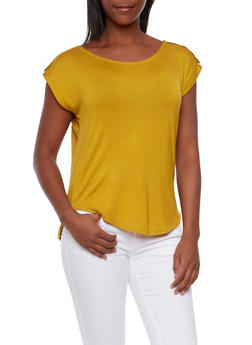 Draped Knit Top with Button Tab Shoulders - 3402069397898
