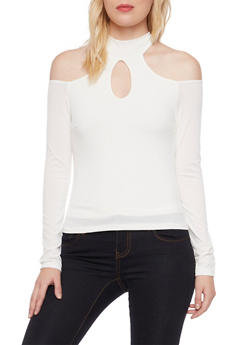 Cold Shoulder Top with Mock Neck and Cutouts - 3402069397899
