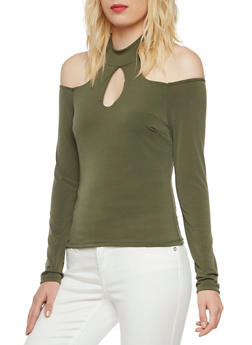 Cold Shoulder Top with Mock Neck and Cutouts - OLIVE - 3402069397899