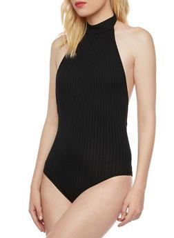 Halter Bodysuit in Ribbed Knit - 3402069397999