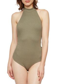 Halter Bodysuit in Ribbed Knit - OLIVE - 3402069397999