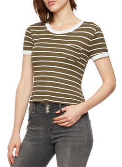 Striped Ringer T-Shirt in Thermal Knit - 3402069398095