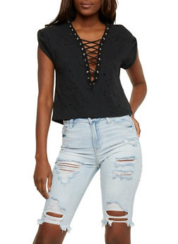 Lasercut Lace Up T Shirt - BLACK - 3402069398285