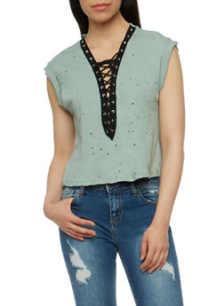 Lasercut Lace Up T Shirt - OLIVE - 3402069398285