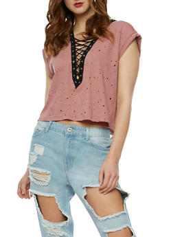Lasercut Lace Up T Shirt - 3402069398285