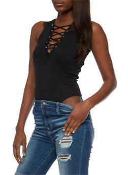 Rib Knit Lace Up Bodysuit - 3402069398370