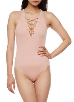 Rib Knit Lace Up Bodysuit - BLUSH - 3402069398370