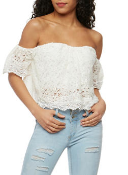 Off the Shoulder Lace Top with Crochet Trim - 3402069398377
