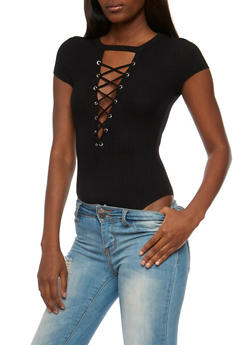 Lace Up Rib Knit Bodysuit - BLACK - 3402069398455