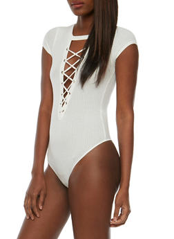 Lace Up Rib Knit Bodysuit - OFF WHITE - 3402069398455