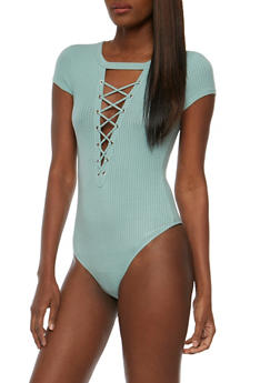 Lace Up Rib Knit Bodysuit - SAGE - 3402069398455