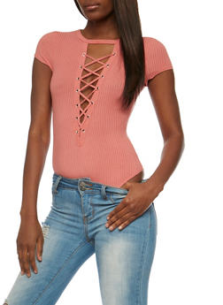 Lace Up Rib Knit Bodysuit - PEACH - 3402069398455