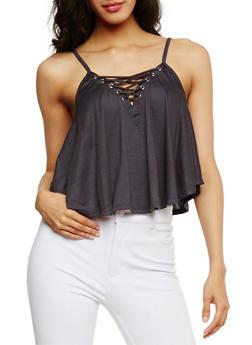 Lace Up Crop Tank Top - CHARCOAL - 3402069398481