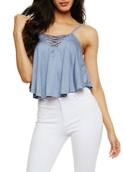 Lace Up Crop Tank Top - CHAMBRAY - 3402069398481