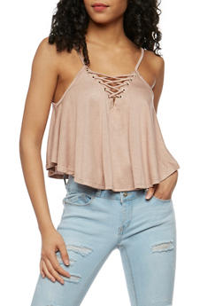 Lace Up Crop Tank Top - MOCHA - 3402069398481