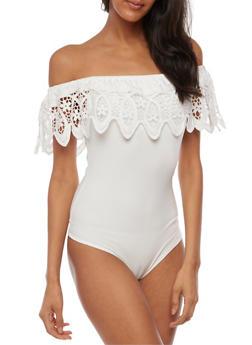 Off the Shoulder Bodysuit with Crochet Overlay - 3402069398573