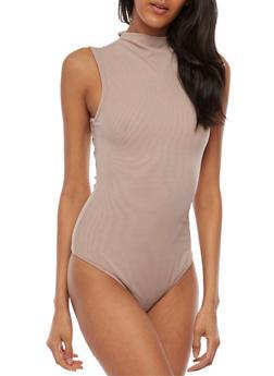 Double Mesh Sleeveless Bodysuit - 3402069398589
