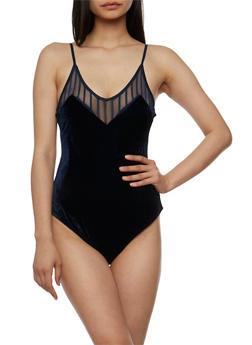Velvet Bodysuit with Mesh Shadow Stripe Trim - 3402069398601