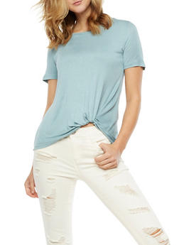 Short Sleeve Solid Faux Tie Top - 3402069398612