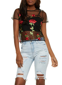 Floral Embroidered Mesh T Shirt - 3402069398617