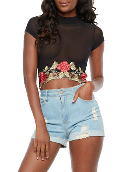 Floral Applique Mesh Crop Top - 3402069398662