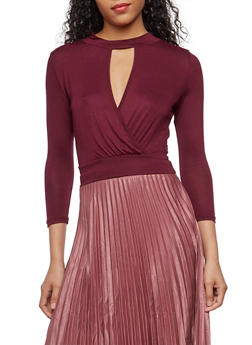Long Sleeve Surplice Crop Top - BURGUNDY - 3402069398723