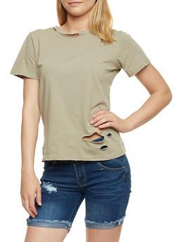 Short Sleeve Ripped Lasercut T Shirt - 3402069398731