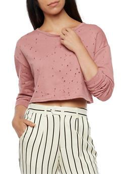 Solid Laser Cut Sweatshirt - 3402069398732