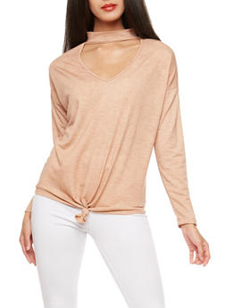 Knot Front Choker Neck Top - 3402069398742