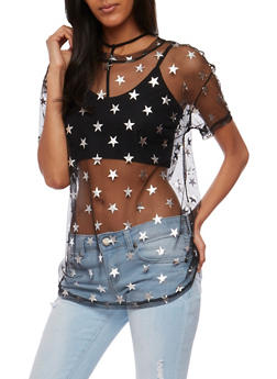 Mesh Star Print T Shirt - 3402069398757