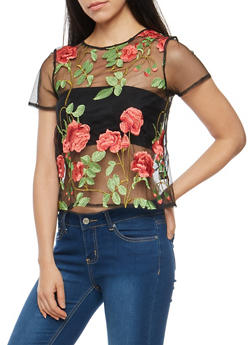 Floral Embroidered Mesh T Shirt - 3402069398762
