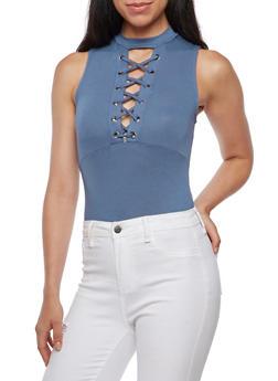 Sleeveless Mock Neck Lace Up Bodysuit - 3402069398807