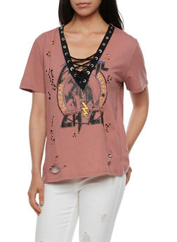 Lace Up Short Sleeve Destroyed Graphic Top - 3402069398823