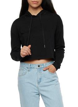 Hooded Laser Cut Sweatshirt - 3402069398869