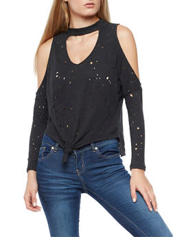 Laser Cut Cold Shoulder Top with Tie Front Detail - 3402069398950