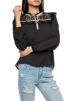 Floral Lace Yoke Crepe Knit Mock Neck Blouse - BLACK WHITE - 3402069399415