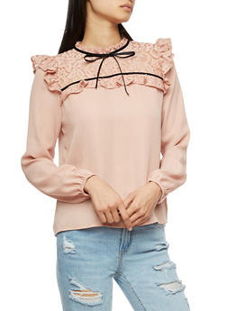 Floral Lace Yoke Crepe Knit Mock Neck Blouse - 3402069399415
